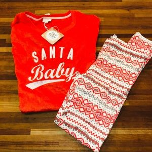 Jenni Santa baby sweatshirt & legging miss matched